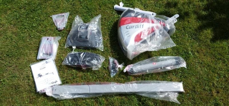 Der Lieferumfang der Ruderzugmachine in Tüten verpackt