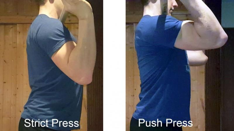 Die Position der Ellenbogen beim Strict Press und beim Push Press