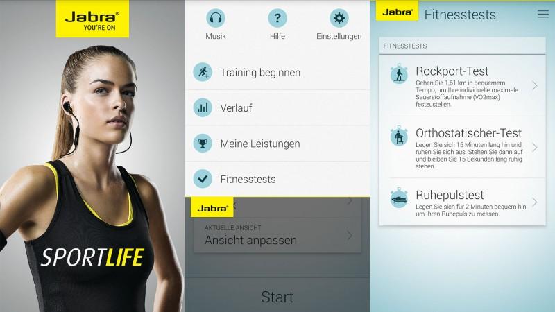 Auszüge aus der Jabra Sport App (Andorid)
