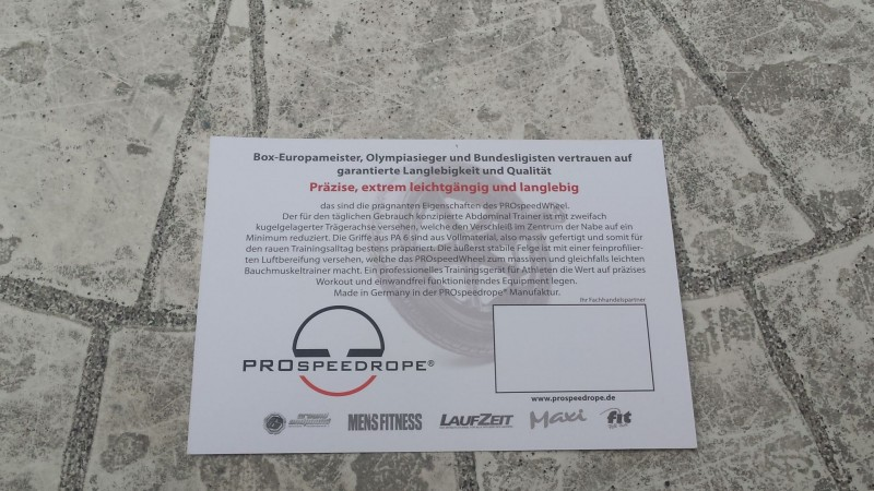 Rückseite des Beipackzettel vom PROspeedWheel