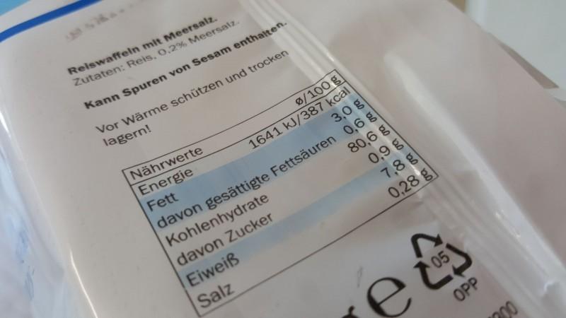 Zutaten und Nährstoffe der Reiswaffeln von Sondey, Lidl