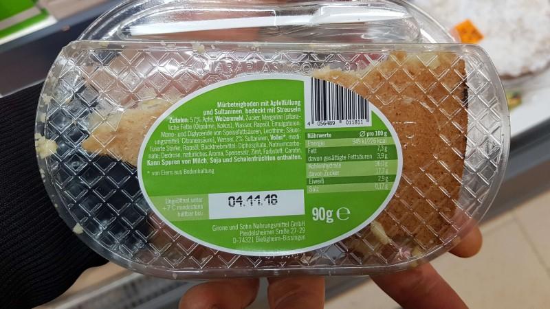 Chef Select To Go Lidl Kuchen Apfelstreusel Kalorien