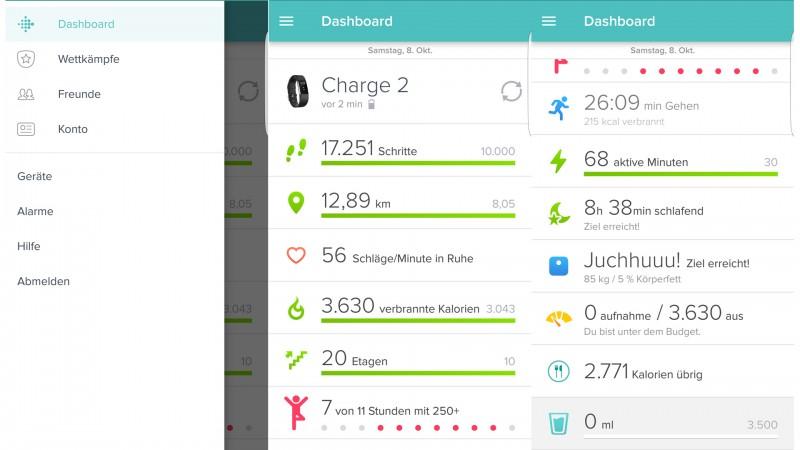 Einblick in die App von Fitbit auf Andorid