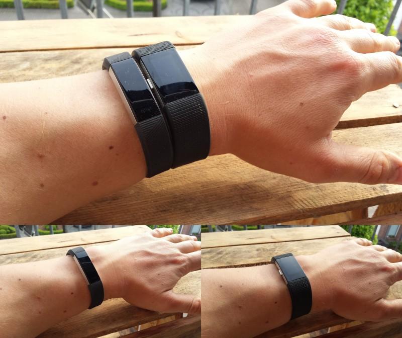 Fitbit Alta HR (links) und Charge 2 (rechts) im Vergleich am Arm