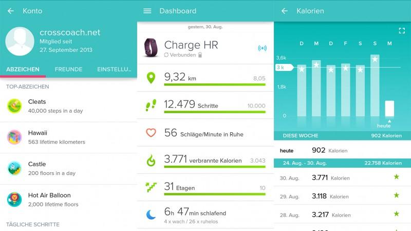 Ausschnitte aus der App von Fitbit