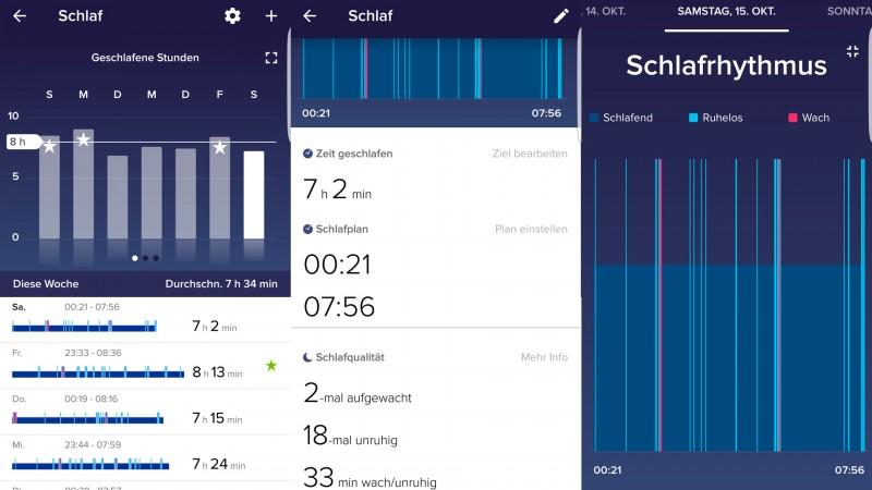 Schlafanalyse des Charge 2 in der App