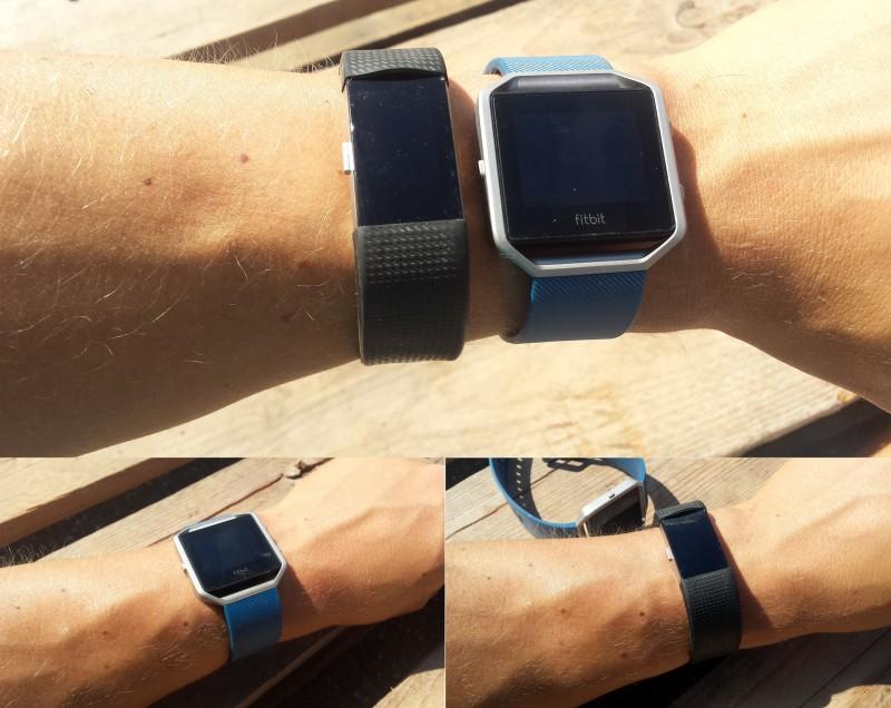 Die Optik am Arm im Vergleich (Fitbit Charge 2 und Blaze)