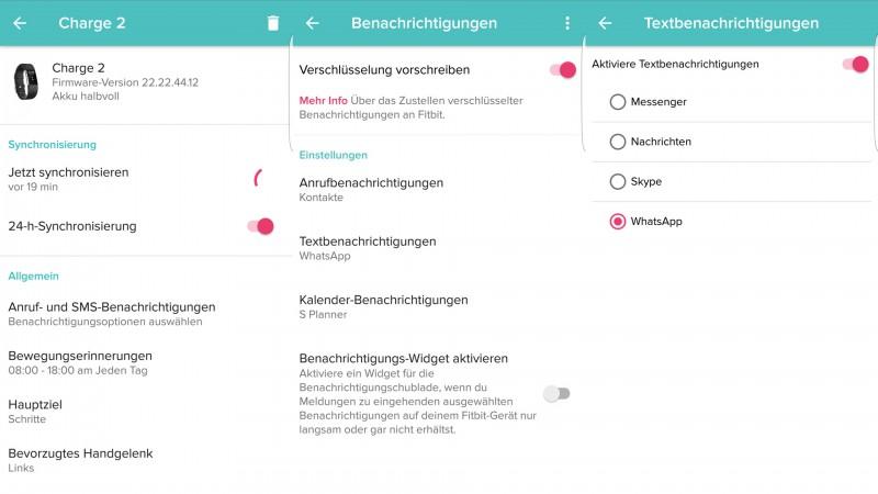 Bei der Charge 2 können auch WhatsApp Benachrichtigungen eingestellt werden.