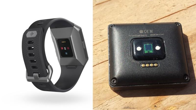HR-Sensoren der Geräte im Vergleich - Links: Ionic; Rechts: Blaze