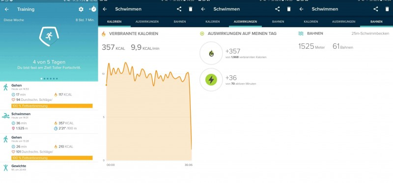 Swimming session with Fitbit in the Android App