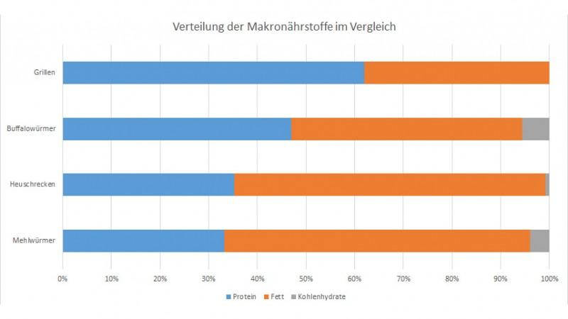 Anteil der Makronährstoffe bei Insekten im Vergleich