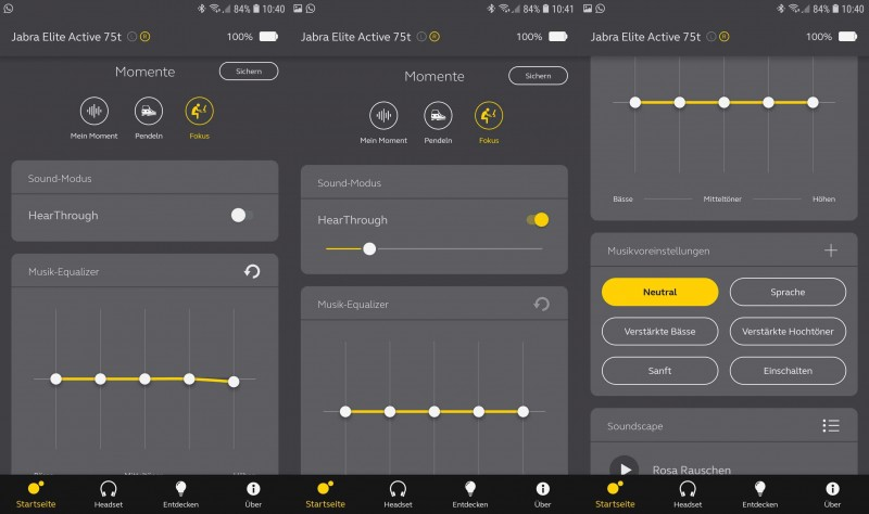 Equalizer und HearThrough in der Jabra App