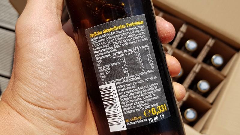 Das Etikett vom JoyBräu Proteinbier (Nährwerte)