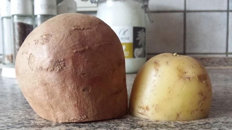 Süßkartoffel und Kartoffel auf der Seite