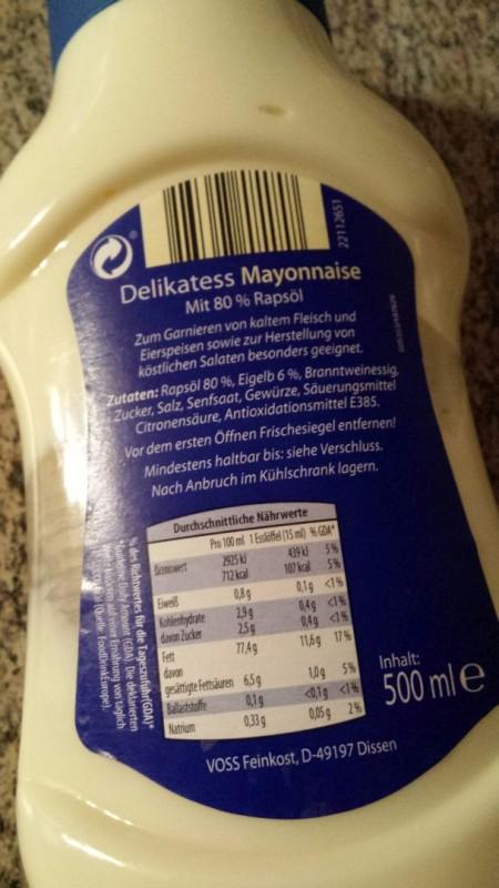 mayonnaise nährwerte