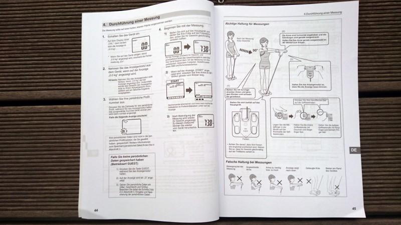 Ein Auszug aus der Anleitung der Omron BF511