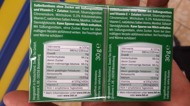 Riniel Bonbons Ohne Zucker Salbei Kalorien Nährwerte
