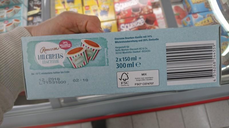 Romanza (Netto) Milchreis Eiscreme, mit Zimtsoße | Kalorien