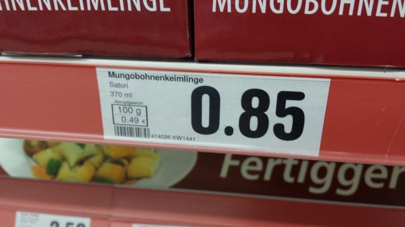 Mungobohnenkeimlinge Nährwerte