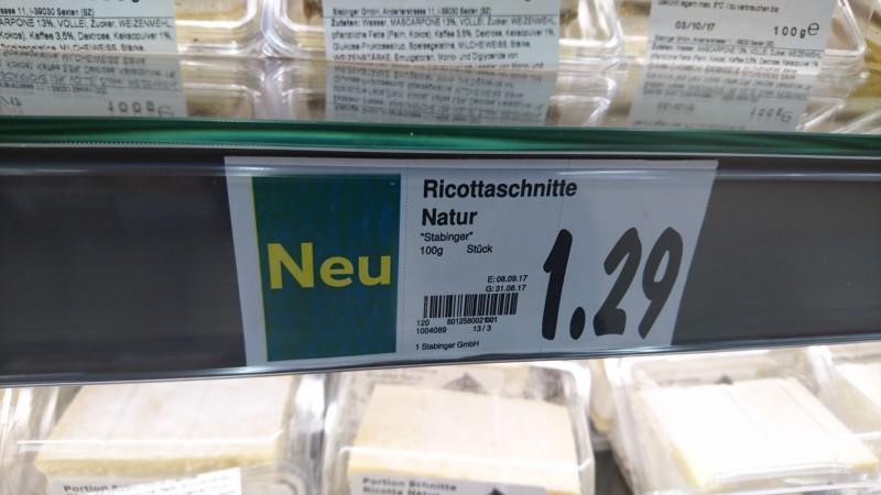 Stabinger Portions Schnitte Ricotta Natur Kalorien