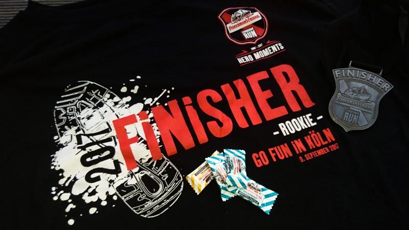 Finisher Shirt und Medaille vom StrongmanRun in Köln 2017 (Rockie-Runde)