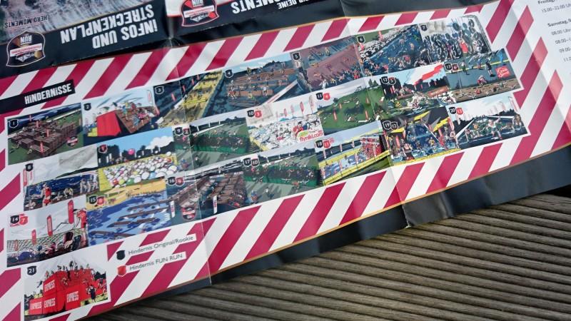 Flyer mit den Hindernissen vom StrongmanRun in Köln 2017