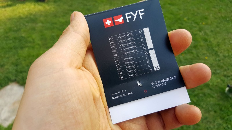 Größentabelle für die FYF von Swiss Barefoot